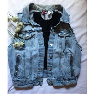 H&M denim cropped vest
